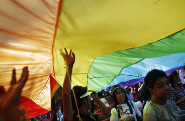 People walk under a rainbow flag as they celebrate victory for gay rights during a parade in Mexico City