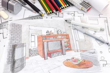 designers drawing tools on colored hand painted sketch of a living room