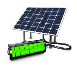Solar panel with full battery, isolated on white background 3d illustration.