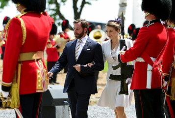 Luxembourg's Hereditary Grand Duke Guillaume and his wife Princess Stephanie attend a ceremony for the opening of the Hougoumont farm as part of the bicentennial celebrations for the Battle of Waterloo near Waterloo