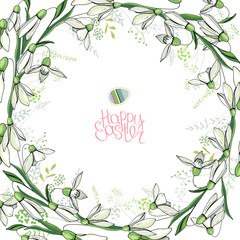 Round frame with pretty snowdrops. Calligraphy phrase Happy Easter