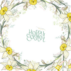 Round frame with pretty yellow daffodils. Calligraphy phrase Happy Easter
