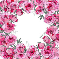 Round frame with pretty red peonies