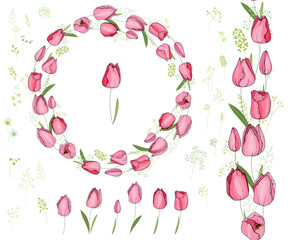 Round frame with pretty red tulips. Festive floral circle for your season design.