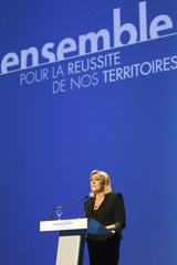 Marine Le Pen, France's National Front head and far right candidate for 2012 French presidential election, delivers a speech during the 66th annual Congress of France's farmer's union group FNSEA in Montpellier