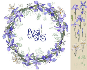 Irises - wreath and single. Floral elements for your design
