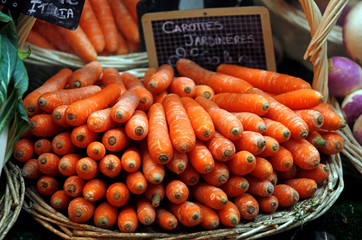 Carrots are seen on a vegetables stall of a greengrocer in Marseille