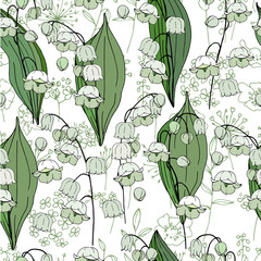 Seamless season pattern with white convallaria. Endless texture for floral summer design with flowers