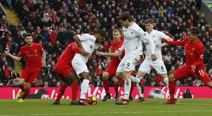 Swansea City's Fernando Llorente scores their first goal