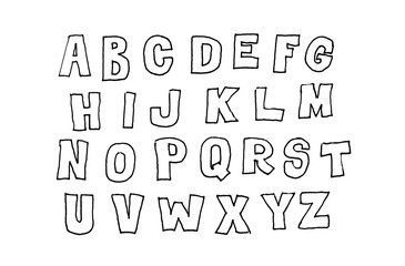 Hand drawn abc, letters over white