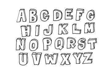 Hand drawn abc, doodle style. Black letters