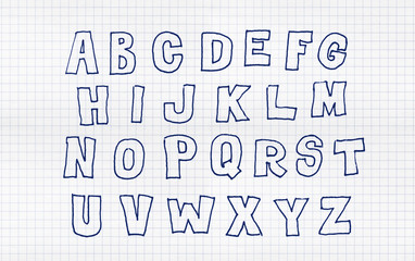 Hand drawn blue flat abc, doodle style