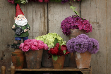 A garden gnome is seen during media day at the Chelsea Flower Show in London