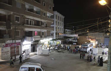 A general view of traffic at a square after a power cut in Toukh