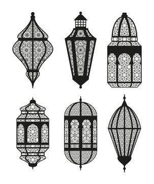 Arabic or Islamic lanterns set. Vector illustration.