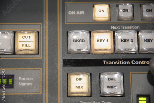 Closeup of a broadcast television video production switcher system