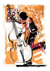 Garden Poster Art Studio Double bass player