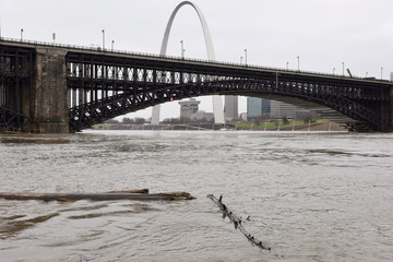The Mississippi River flowing at 800,000 CFS (cubic feet per second) measured by the U.S. Geological Survey (USGS) in St. Louis, Missouri