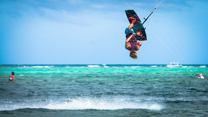 Kite surfer upside down