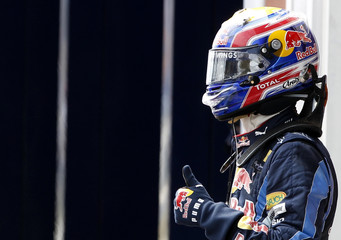 Red Bull Formula One driver Webber of Australia gives a thumbs up as he celebrates after getting pole position for the Turkish F1 Grand Prix in Istanbul