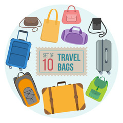 Set of travel bags and suitcases. Vector