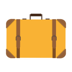 Classic square yellow suitcase with leather straps, colorful flat illustration of baggage bag. Vector