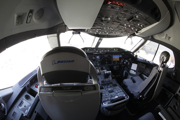 The cockpit of a Boeing 787 Dreamliner plane is seen in Long Beach