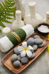Poster de jardin Spa Composition of bath spa treatment on gray background