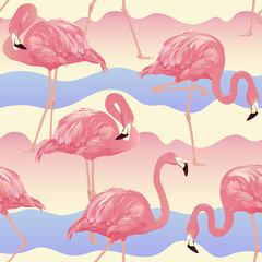 Canvas Prints Tropical Bird Flamingo Background - Seamless pattern vector