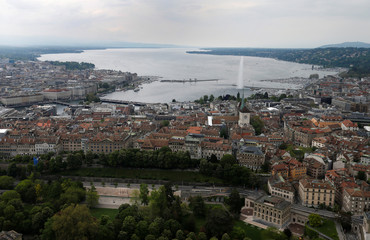 The Jet d'Eau (water fountain), the Lake Leman and the Reformation Wall are pictured from the air in the city of Geneva
