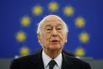 Former French President Valery Giscard d'Estaing addresses the European Parliament in Strasbourg