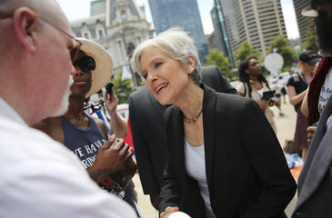 Green Party presidential candidate Jill Stein speaks to supporters during a rally outside the Wells Fargo Center on the second day of the Democratic National Convention in Philadelphia