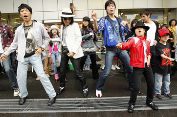 Michael Jackson's fans dance at a dancing event to commemorate Michael Jackson in Tokyo