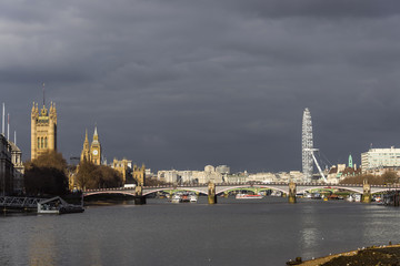Houses of Parliament and Big Ben with London Eye