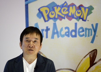 """Tsunekazu Ishihara, president and CEO of The Pokemon Company and producer of Pokemon, introduces the new """"Pokemon Art Academy"""" game during a news conference at E3 in Los Angeles"""