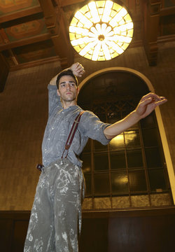 """Performers from L.A. Dance Project dances during a dress rehearsal for the experimental opera """"Invisible Cities"""", which is presented inside the historic Los Angeles Union Station in California"""