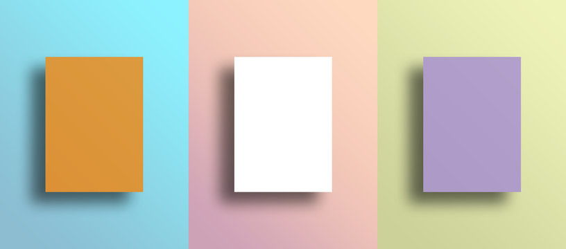 Three blank frames on colorful wall