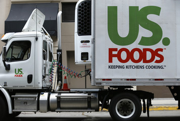 A US. Foods truck is shown on delivery in in San Diego
