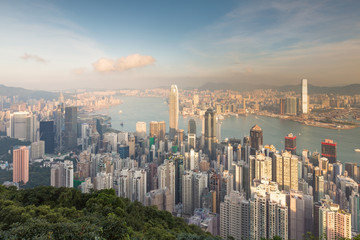 Hong Kong city downtown from The Peak Point of View, cityscape background