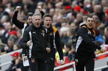 Wolverhampton Wanderers manager Paul Lambert celebrates their first goal