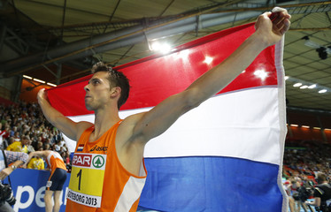 Sintnicolaas of the Netherlands celebrates his victory in Heptathlon Men Final at the European Athletics Indoor Championships in Gothenburg