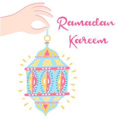Staande foto Vogels in kooien Hand drawn Ramadan lantern background. Vector Illustration