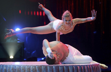 "Czech acrobats ""Duo Stykan"" perform during the opening ceremony of the 34th Monte-Carlo International Circus Festival of Monte Carlo"