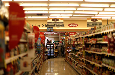 An aisle of a Ralphs grocery store, which is owned by Kroger Co, is pictured ahead of company results in Altadena