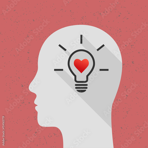 Positive thinking concept with profile and head line. Lightbulb ...