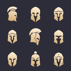 helmets set, spartan, greek, roman armor