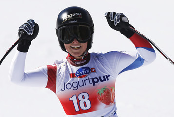 Gut of Switzerland reacts after the women's downhill event during the FIS Alpine Skiing World Cup finals in the Swiss ski resort of Lenzerheide