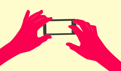 Two stylized hands holding smartphone with blank screen. Isolated on yellow background. Taking picture using mobile device concept illustration.