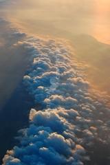 wolken, himmel, blau, hoch, ozean, wasser, flugzeug