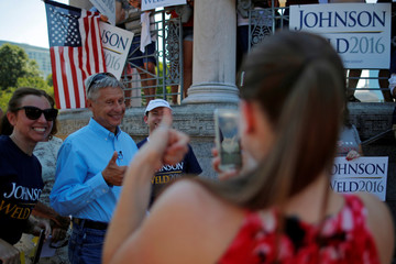 Libertarian presidential candidate Johnson gives a thumbs up while posing for a photograph at a campaign rally in Boston